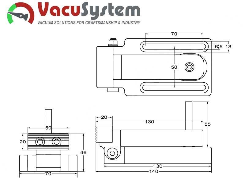 Docisk boczny CNC Wymiary