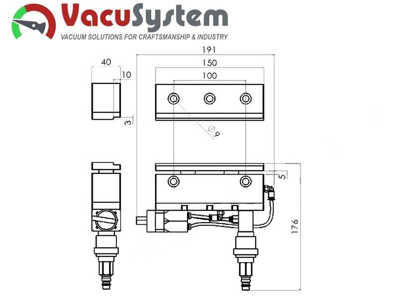 Pneumatuczne imadło maszynowe PIM-150 VacuSystem Wymiary