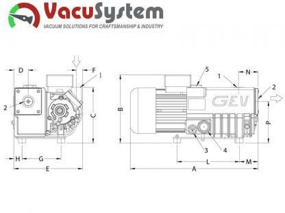 olejowa łopatkowa pompa próżniowa GEV GP 11 GP 21 wymiary