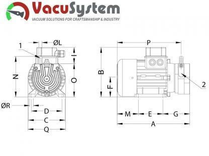sucha łopatkowa pompa próżniowa podciśnieniowa VacuSystem