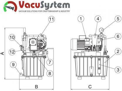 stacja pompa próżniowa podciśnieniowa z odstojnikiem separatorem cieczy wymiary