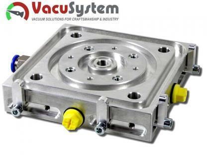 Przyssawka CNC do stołów teowych wyposażona w podpory bazujące