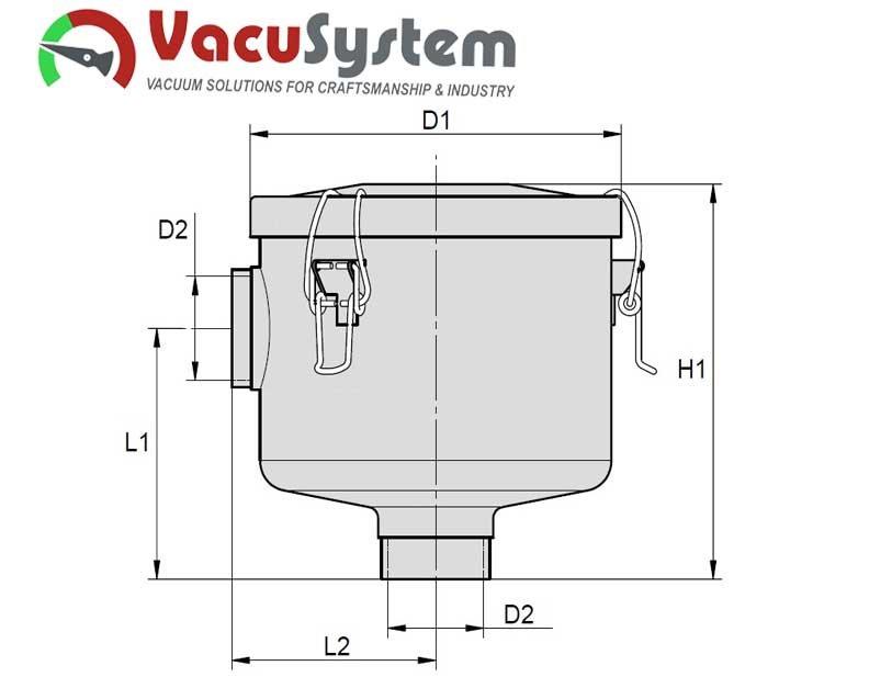 puszkowy filtr podciśnieniowy próżniowy MVF-D wymiary