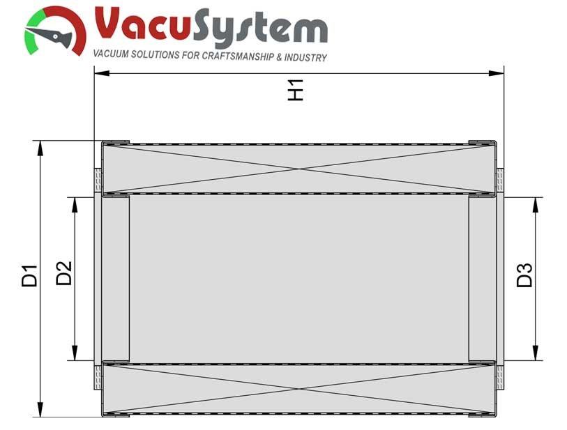 Wymienny wkład filtra podciśnieniowego puszkowego VacuSystem wymiary