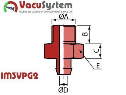Nypel przyłączeniowy przyssawki IM3VPG2 M3 męski