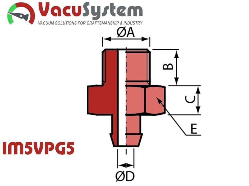 Nypel przyłączeniowy przyssawki IF5VPG5 M5 męski