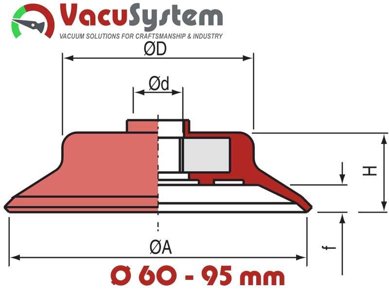 przyssawki płaskie okrągłe 60-95 mm vpg coval schmalz wymiary
