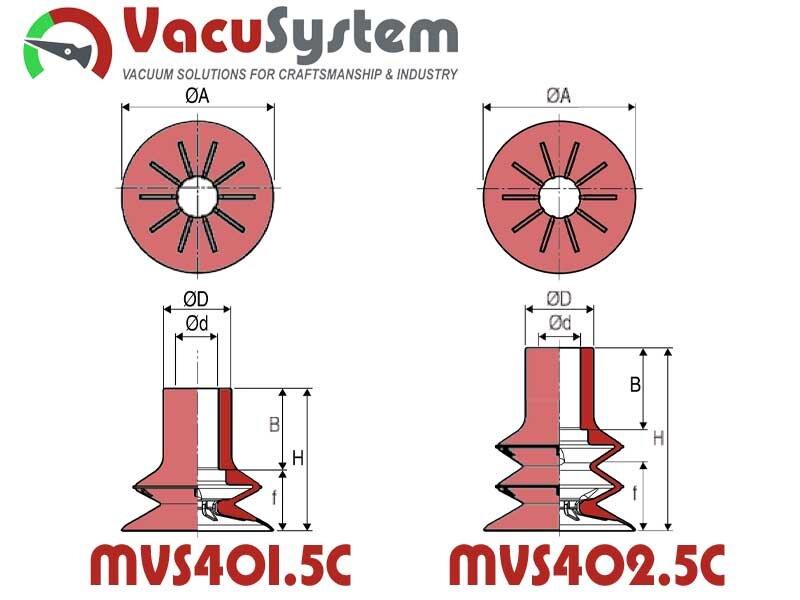 Przyssawka MVS Ø40 mm do bardzo szybkich cykli wymiary
