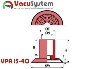 Przyssawki do papieru i folii VPA 15-40 wymiary