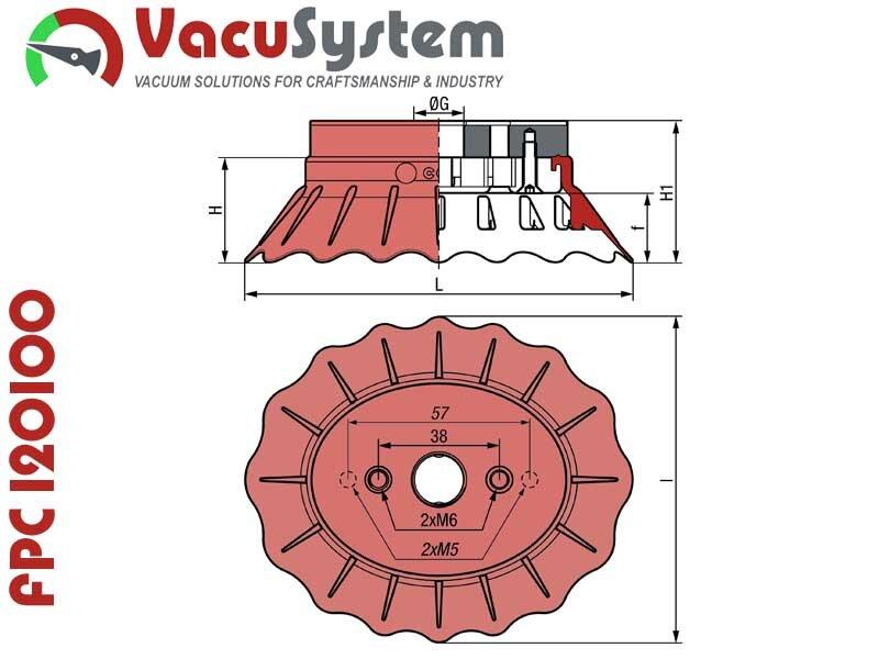 Przyssawki do systemów Flow Pack FPC 120x100 wymiary