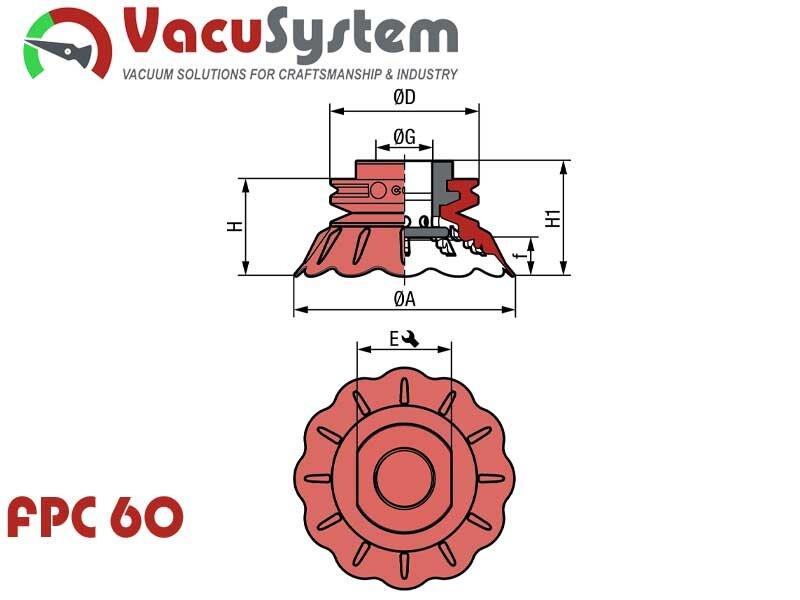 Przyssawki do systemów Flow Pack FPC 60 wymiary