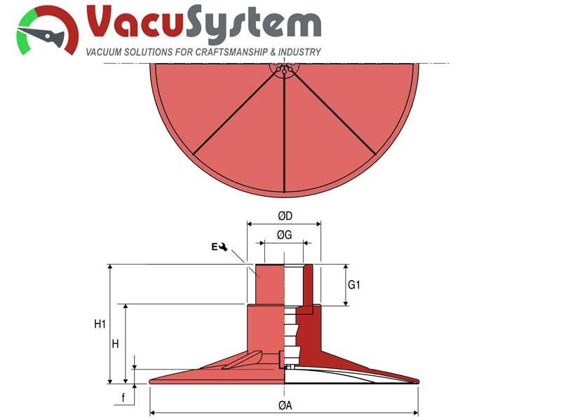 Super płaskie przyssawki VPSC do kompozytów i wrażliwych powierzchni wymiary