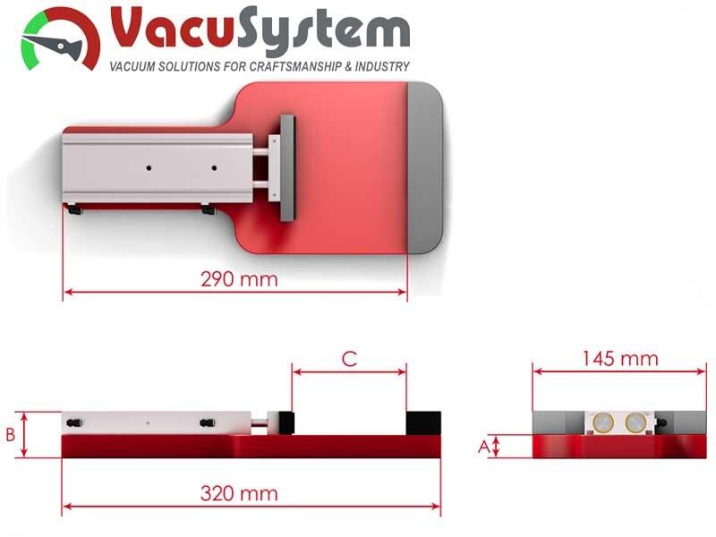 Zacisk poziomy pneumatyczny do CNC wymiary