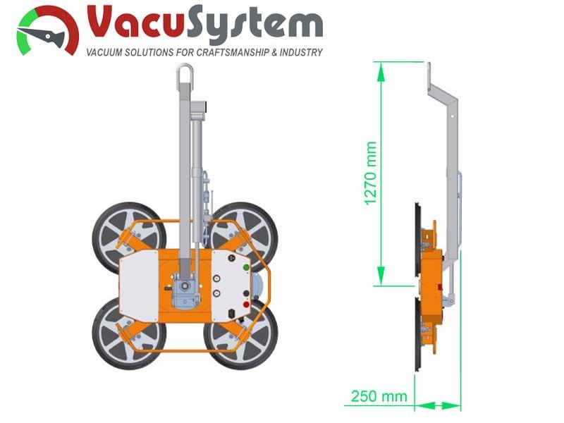 ramie nośne z hamulcem hydraulicznym przechyłu podnośnika do szyb szkła VacuSystem