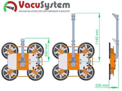 regulowane ramie nośne podnośnika do szyb szkła VacuSystem