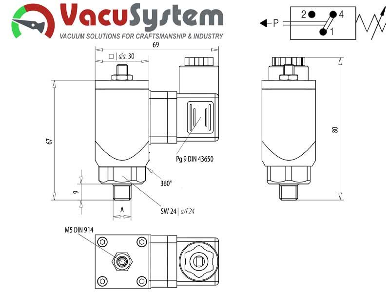 Czujnik podciśnienia elektrycznu elektromechaniczny zestykowy kontaktowy VSM 330 wymiary