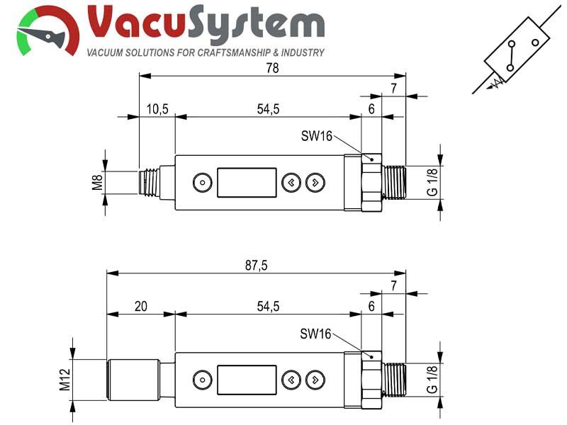 Czujnik podciśnienia wakuostat elektroniczny VUS-D wymiary