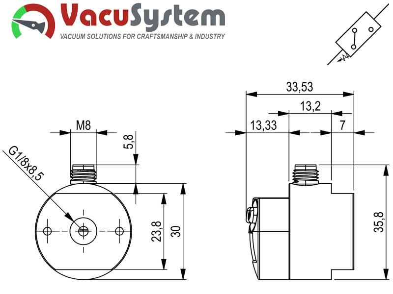 Czujnik podciśnienia wakuostat elektroniczny VUS-N wymiary