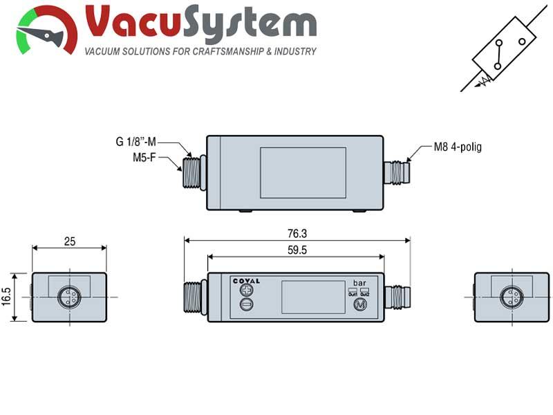 Czujnik podciśnienia wakuostat elektroniczny PSE 100C wymiary