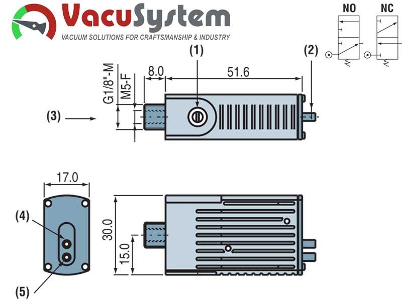 Czujnik podciśnienia wakuostat pneumatyczny PSE 100P wymiary