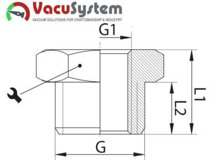 redukcja z gwintem gazowym złączka podciśnienia wymiary